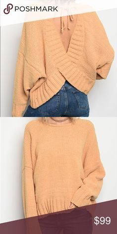 Open back mustard sweater - coming soon Comment or like to be notified when it arrives Sweaters Crew & Scoop Necks