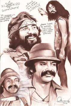 Cheech and Chong - 'The Olivas Collection' - Paintings & Prints Entertainment Movies Comedies - ArtPal Weed Wallpaper, Funny Phone Wallpaper, Cute Disney Wallpaper, Cheech Y Chong, Dave's Not Here Man, Phoenix Artwork, Angel Devil Tattoo, Chicano Drawings, Latino Art