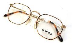 f338f5515f2 vintage 90s deadstock gold metal frame tortoise eyeglasses amber orange  brown eyewear eye glasses new old stock st moritz hexagon geometric