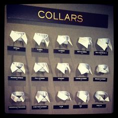 Custom shirts options - 16 different collar options! Bespoke Shirts, Custom Shirts, Mode Masculine, Suit Stores, Clothing Store Design, Style Masculin, Tailor Shop, Fashion Vocabulary, Suit Shop