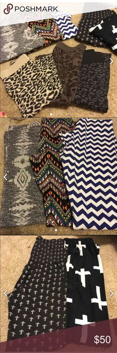 Legging (8)pair for one low price BOUTIQUE Here are some awesome legging for the fall/winter months you can dress them up or down for casual effect! Most bought at BOUTIQUE except one Victoria's Secret pair(Aztec) Pants Leggings