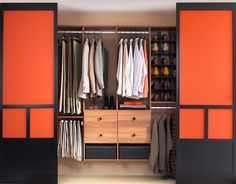 Furniture Walk In Wardrobe Second Hand Clothing Sliding Door Wardrobe Design Orange Color Walk in Wardrobe for Storage of Gown and Attachment Walk In Wardrobe Design, Hall Wardrobe, Wardrobe Storage, Closet Storage, What Is Interior Design, Creative Closets, Walk In Robe, Sliding Closet Doors, Cupboard Design