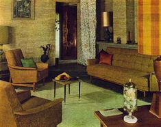 """1965 Living Room.  The colors in the room epitomize, for me, the scheme of """"1960s""""."""