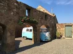 Cool camper van at the cow shed Crail Summer Wedding, Diy Wedding, Wedding Venues, Cow Shed, Cool Campers, Rustic Barn, Campervan, Stables, Outdoor Structures