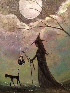 Original OOAK Painting Cat Witch Gothic Halloween Prinitive Folk Art Terri Foss | eBay