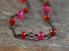 Delicate Fuchsia Pink and Cherry Red Crystals by Jennifer Sadler Designs, handcrafted jewelry, $20.00