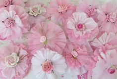 Retro Craft: Glittery Crepe Paper Flowers--would be cute strung as garland...