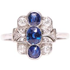 Vintage Antique Jewellery - Jewellery Discovery London - have a look at: Art Deco Sapphire, Diamond and Platinum Dress Ring - Platinum Diamond Rings, Platinum Engagement Rings, Deco Engagement Ring, Perfect Engagement Ring, Diamond Cuts, Sapphire Diamond, Victorian Engagement Rings, Art Deco, Art Nouveau
