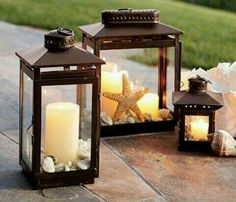 Seashell candle lanterns