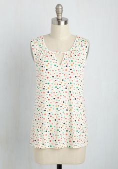 All for a Good Cosmopolitan Top in Dots. To celebrate your successful charity fundraiser, you sport this ivory tank right to happy hour. #white #modcloth