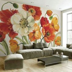 Wall Drawing Painting & Drawing Mural Art Wall Murals Abstract Flowers Painting Lessons Beaux Arts Pictures To Paint Flower Art Mural Art, Wall Murals, Wall Art, Wall Painting Decor, Wall Decor, Wall Wallpaper, Painting Inspiration, Painting & Drawing, Flower Art