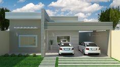 Casa C017: Projeto de casa com 3 quartos, sendo 1 suíte, 2 banheiros e 2 vagas na garagem. Acabamento da fachada moderno, em platibanda.