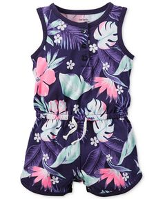 Carter's Baby Girls' Purple Floral-Print Romper  FROM MACY'S
