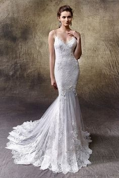 Lace wedding dress idea - mermaid gown with V-neckline and thin spaghetti straps.Style Lexi by @enzoani.