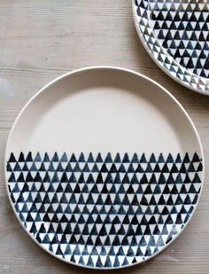 porcelain dinnerware plates triangle screenprinted by mbartstudios