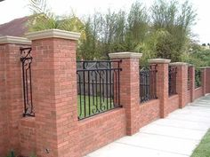 brick wall fence design ideas - Google Search