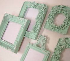 Shabby Chic Frames Pastel Mint Green by MountainCoveAntiques