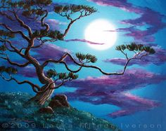 Bent Pine Tree at Moonrise Original Acrylic Painting by Laura Milnor Iverson