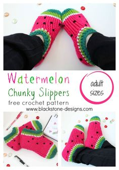 Watermelon Chunky Slippers - adult sizes - free crochet pattern from Blackstone Designs #crochet #freecrochetpattern #watermelonslippers #watermelon #crafts #DIY #slippers