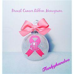 """4"""" Shatterproof Handmade Glitter Breast Cancer Awareness Monogram Christmas Ornament! Only 10.00"""