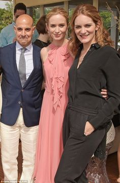 A family affair: Emily Blunt was joined by sisterFelicity Blunt and her husbandStanley Tucci