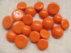 Carrot orange round domed cabochon destash lot - 20mm, 24mm - quantity of 20