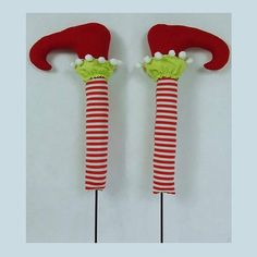 "Pair of Elf Legs Color: Red, Lime Green, White Size: 24""  On order, ETA Summer 2015"