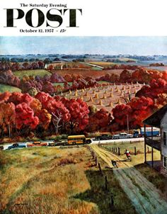 Running To Meet The Bus by John Falter, Oct. 12, 1957, The Saturday Evening Post.