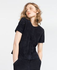 Image 3 of SUEDE CUTWORK TOP from Zara