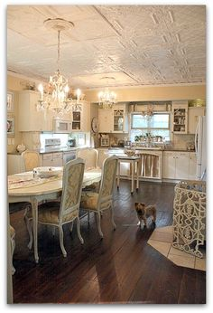Shabby Chic: Love the floor, ceiling and chandeliers