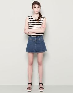 :DENIM SKATER SKIRT