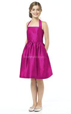 afa4f92059b7 Fuchsia Taffeta Knee-length Princess Halter Sleeveless Junior Bridesmaid  Dresses(UKJBD03-021)