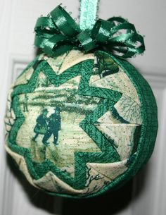Winter Scenes Fabric Quilted Ornament by WreathsByKari on Etsy, $11.00