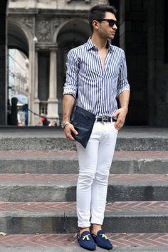 Got it. White pants, stripe shirt. #men #fashion #style