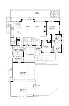 Modern House Floor Plans 1600 square feet, 3 bedrooms, 2 batrooms, 1 parking space, on 1