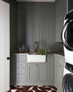 """Heidi Caillier on Instagram: """"Everyone deserves a pretty place to do the laundry. 📷: @haris.kenjar #heidicaillierdesign #interiordesign #interiordesigner #home…"""" Farmhouse Laundry Room, Types Of Flooring, Stacked Washer Dryer, New Homes, Kitchen Cabinets, Home Appliances, Interior Design, Pretty, Furniture"""