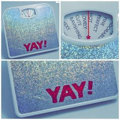 "Best idea ever.  Yay! You Yay! Scale (silver sparkle) How would you feel if you stepped on the scale in the morning and it always gave you a compliment? ""You're perfect,"" ""You're gorgeous,"" You're hot!"" You'll never have another bad scale day with a Yay! Scale! Conceived, designed, handmade & signed by Marilyn Wann of Fat!So? fame."