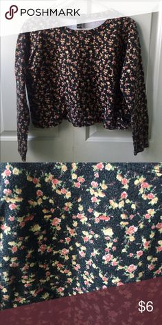 Floral Crop Top Long sleeve crop top. Black with small floral print. 100% Cotton Forever 21 Tops Crop Tops