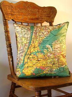 SALE Decorative pillow map NEW YORK eco by mybeardedpigeon on Etsy