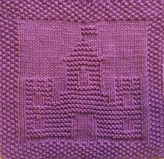 Free knitting pattern for castle dishcloth, washcloth, afghan square or blanket . Free knitting pattern for castle dishcloth, washcloth, afghan square or blanket square. Knitted Dishcloth Patterns Free, Knitting Squares, Knitted Washcloths, Knit Dishcloth, Knitting Charts, Crochet Patterns Amigurumi, Knitted Blankets, Knitting Patterns Free, Free Knitting