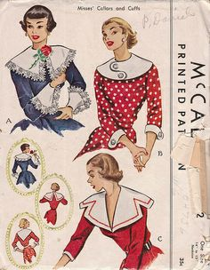 Vintage 1950 Misses Collars and Cuffs McCalls 1552 Sewing Pattern 1950s