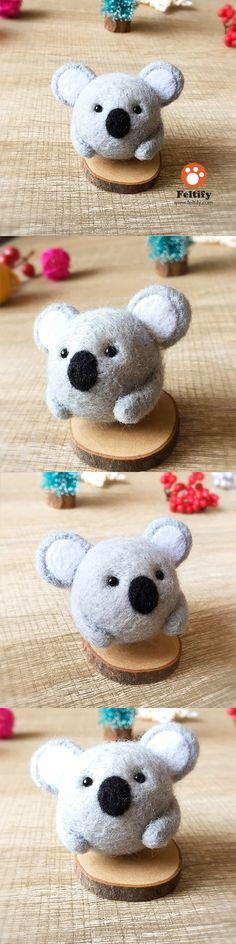 Handmade Needle felted felting kit project Woodland Animals koala cute for beginners starters