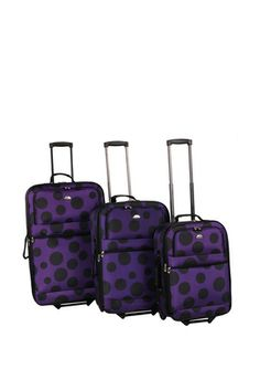 AMERICAN FLYER 3-Piece Tokyo Collection Luggage Set - purple with big black dots