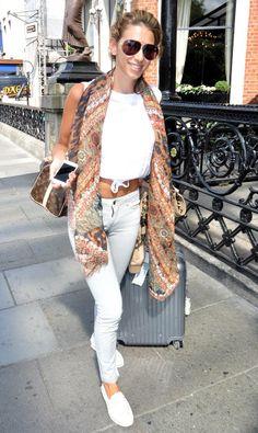 Georgia Salpa.. white + brownish bohemian scarf, and studded Christian Louboutin flats..