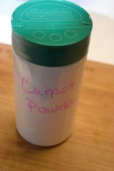 Homemade Carpet Powder. Fruity essential oils for the summer. Nutmeg and clove powder for the holidays.
