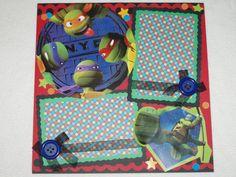 Teenage Mutant Ninja Turtles Birthday Boy 12x12 Premade Scrapbook Page by KARI on Etsy, $9.99
