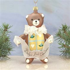 De Carlini Baby's First Christmas Teddy Ornament The Cottage Shop