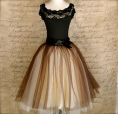 Brown and ivory tulle skirt for women. Wide by TutusChicBoutique, $200.00