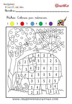 Colorear con números. Manualidades a Raudales