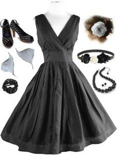 50s Style PINUP Black SURPLICE Sun Dress w/FULL Skirt